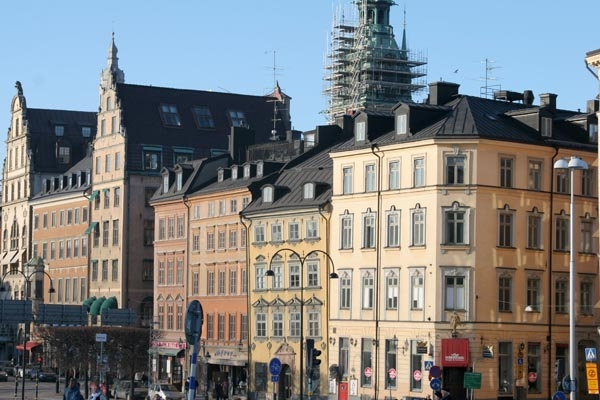 Send picture of Stockholm houses from Sweden as a free postcard