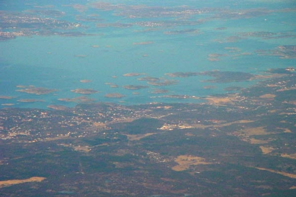 Send picture of Gothenburg archipelago seen from the sky from Sweden as a free postcard