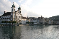 Foto van Jesuit church and Lucerne houses - Switzerland