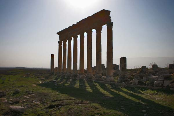 Pillars of Apamea ruins casting long shadows