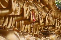 Foto van Golden Buddhas at Wat Khao Sukim - Thailand