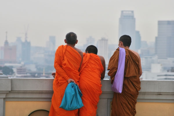 Monks enjoying the view over Bangkok