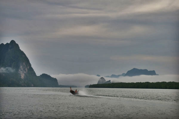 Boat sailing in Phang Nga bay