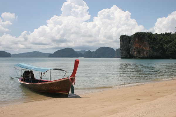 Beach and boat in Phang Nga bay