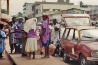 Picture of People waiting to border a taxi in Lomé - Togo