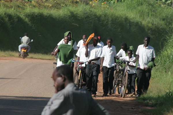 Ugandan students walking home from school
