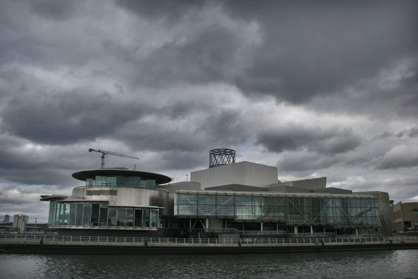 Send picture of Dramatic sky over Salford Quays near Manchester from United Kingdom as a free postcard