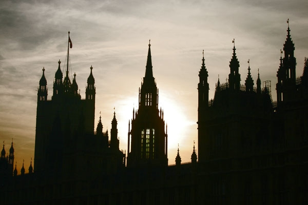 Send picture of Sunset behind Westminster Palace in London from United Kingdom as a free postcard