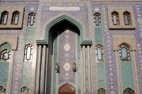 Foto van Beautifully decorated facade of mosque in Bur Dubai - United Arab Emirates
