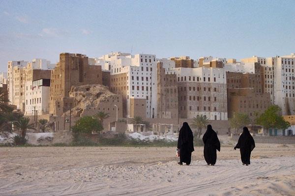 Stuur foto van Shibam seen from a distance van Jemen als een gratis kaart