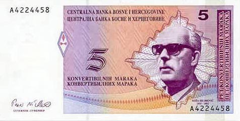 Plaatje van geld uit Bosnië en Herzegovina
