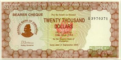 Image of money from Zimbabwe