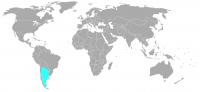 Image de la position dans le monde de l'Argentine