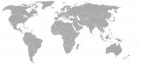 Imagen de la posición en el mundo de Corea del Sur