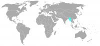Imagen de la posición en el mundo de Myanmar (Birmania)