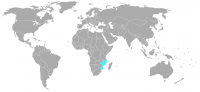 Plaatje van positie in de wereld van Mozambique