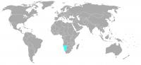 Plaatje van positie in de wereld van Namibië