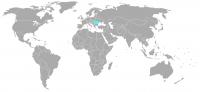 Imagen de la posición en el mundo de Rumania