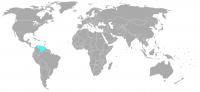 Image de la position dans le monde de le Vénézuéla